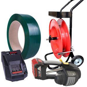 Zestaw do bandowania MB620 + taśma PET + odwijacz + bateria + ładowarka